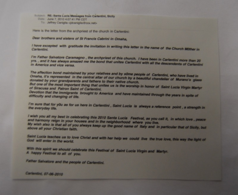 Letter from Father Salvatore Caramagno to Members of St. Francis Cabrini, 2010