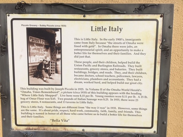 Memorial Plaque for Little Italy in Omaha