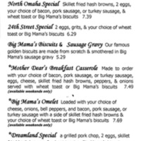 Big Mama's Kitchen Menu