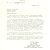Letter from Major E.A. Bradunas to Ruth Sengstake, August 1, 1944