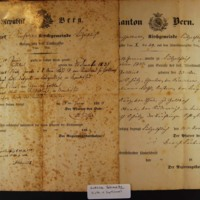 Gottlieb Schuetz's Baptismal Certificate and Certificate of Good Standing in the Church