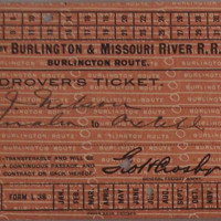 F.J. Nelson's Drover's Ticket for Omaha to Axtell Passage, July 12, 1900